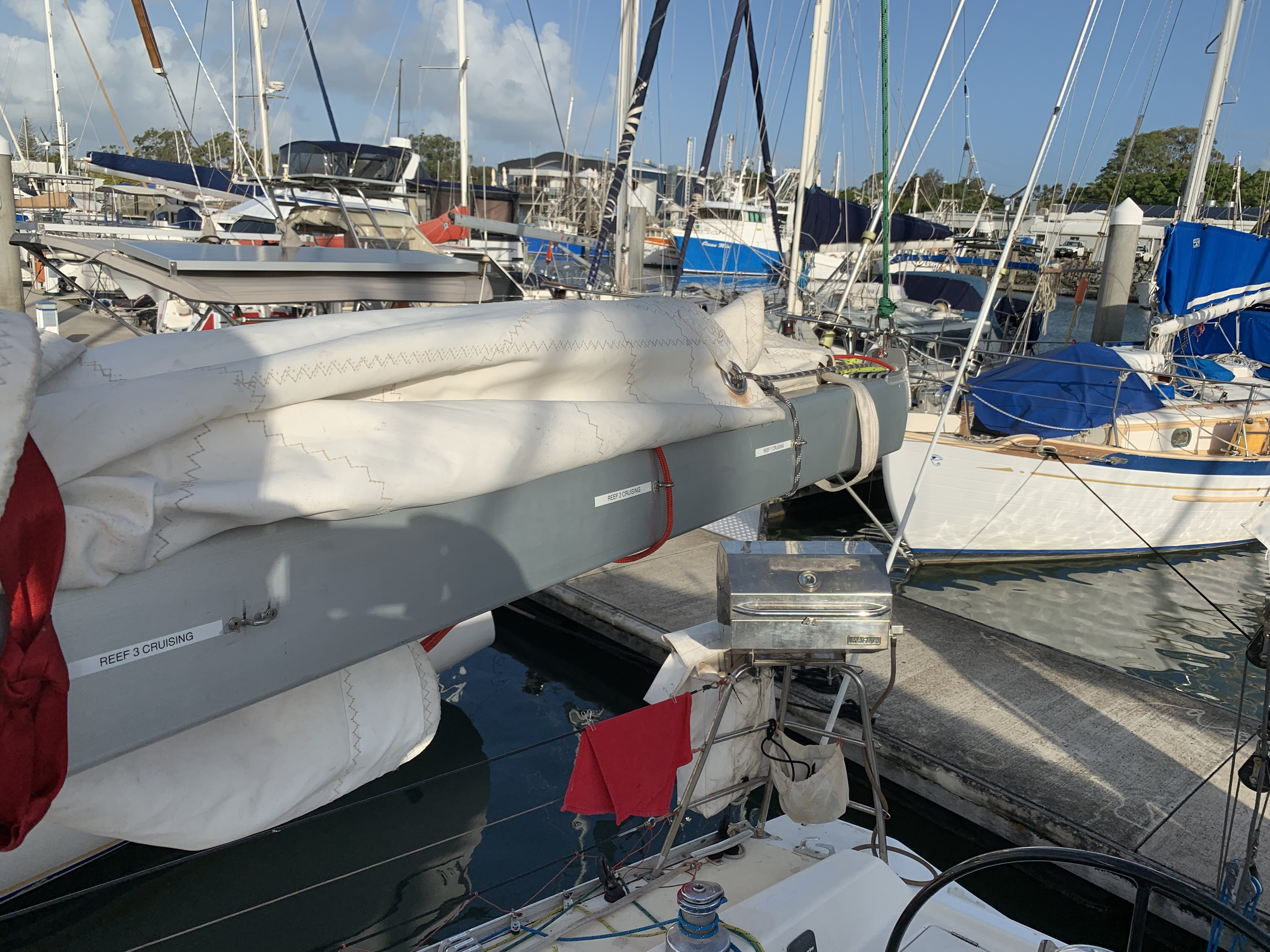 reefing saddles cruising by three